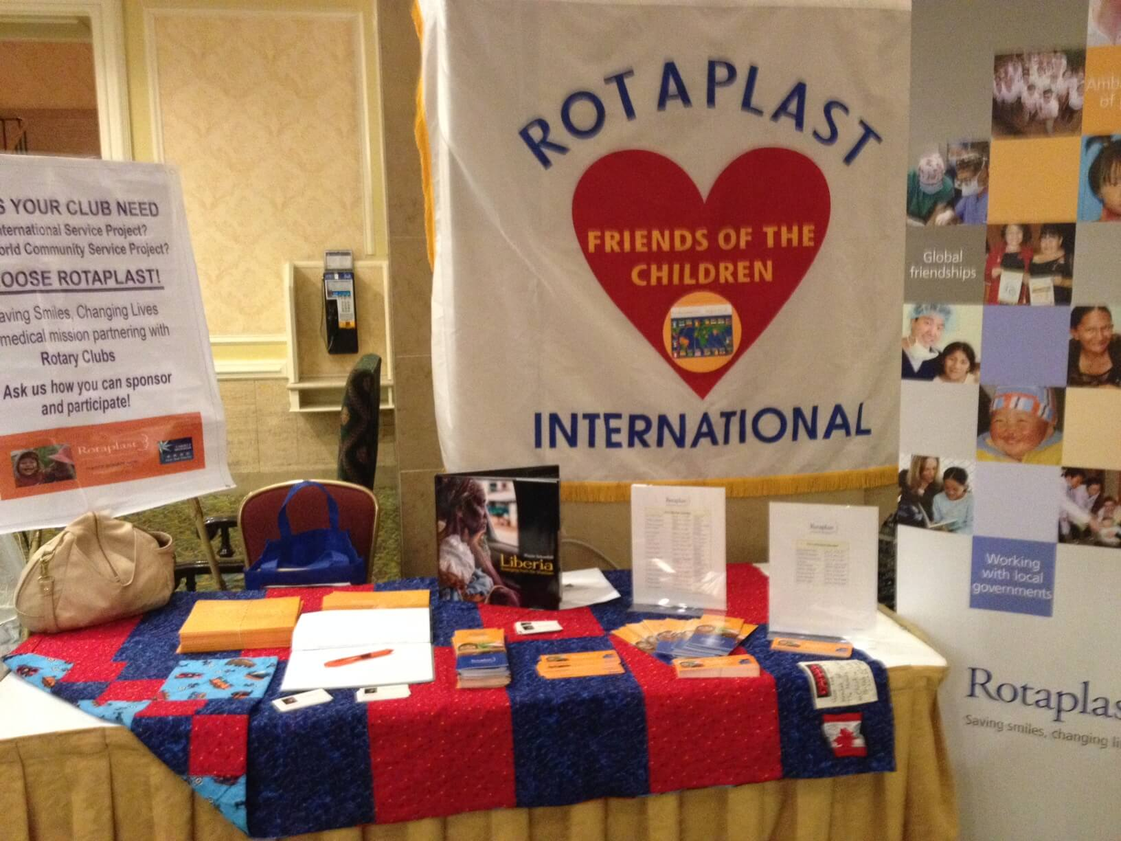 Rotaplast Booth in the House of Friendship