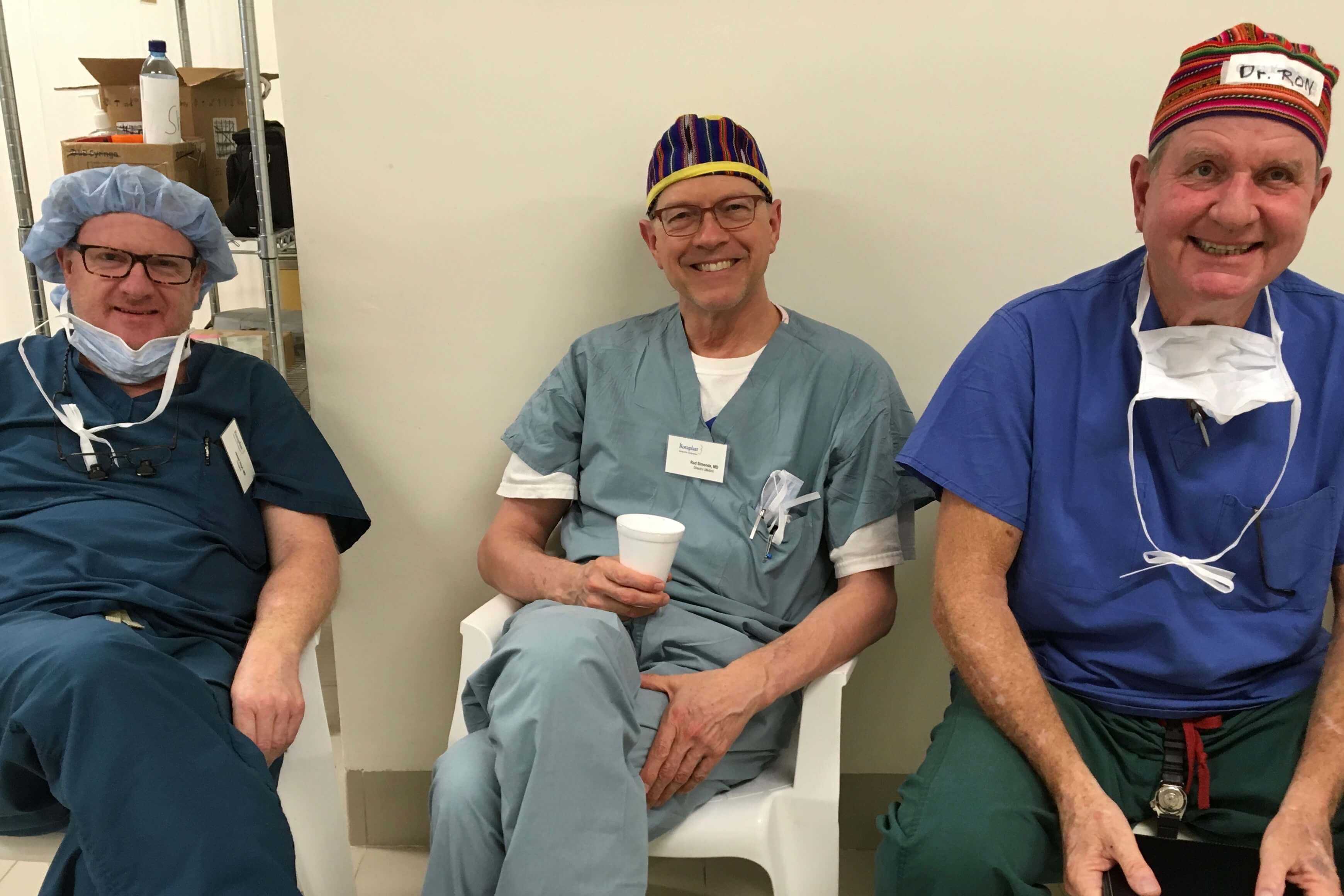 Surgeons James Hoyt (left), Medical Director Rod Simonds and Surgeon Ron Worland relax between patients.